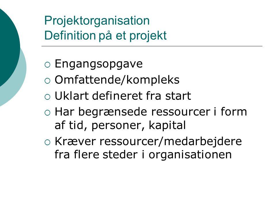 Projektorganisation Definition på et projekt