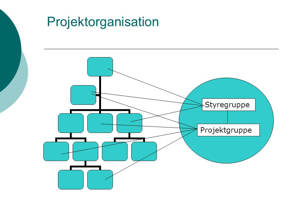Projektorganisation Styregruppe Projektgruppe