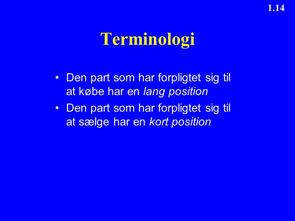 Terminologi Den part som har forpligtet sig til at købe har en lang position. Den part som har forpligtet sig til at sælge har en kort position.