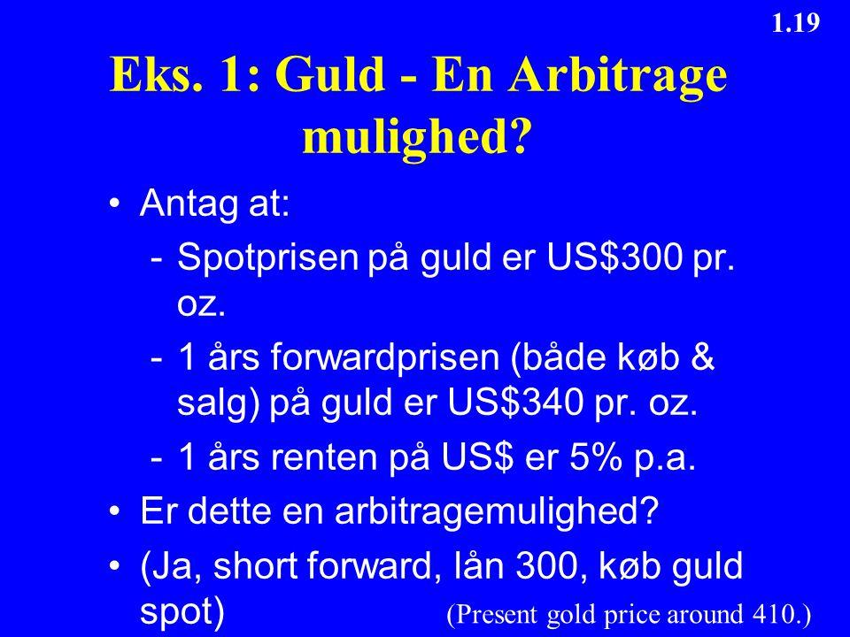 Eks. 1: Guld - En Arbitrage mulighed