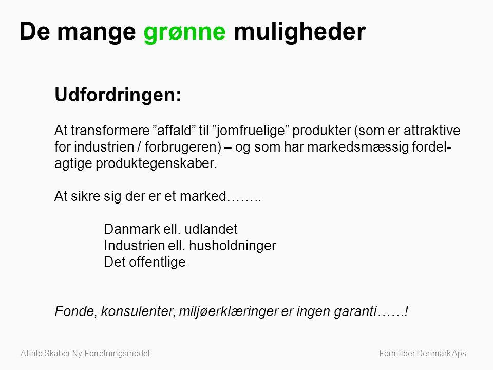 Affald Skaber Ny Forretningsmodel Formfiber Denmark Aps