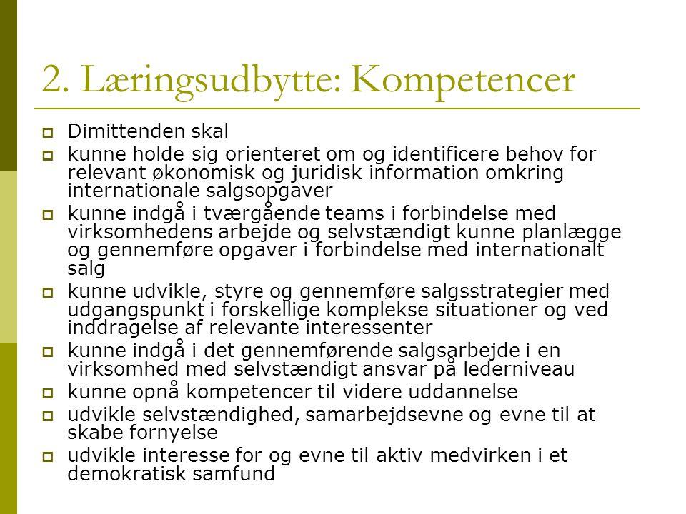 2. Læringsudbytte: Kompetencer