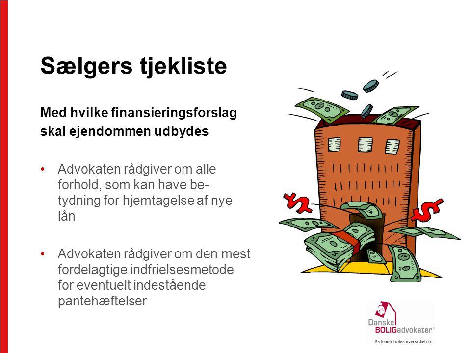 Sælgers tjekliste Med hvilke finansieringsforslag