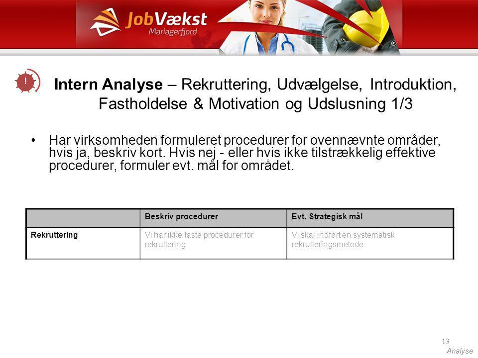 ! Intern Analyse – Rekruttering, Udvælgelse, Introduktion, Fastholdelse & Motivation og Udslusning 1/3.
