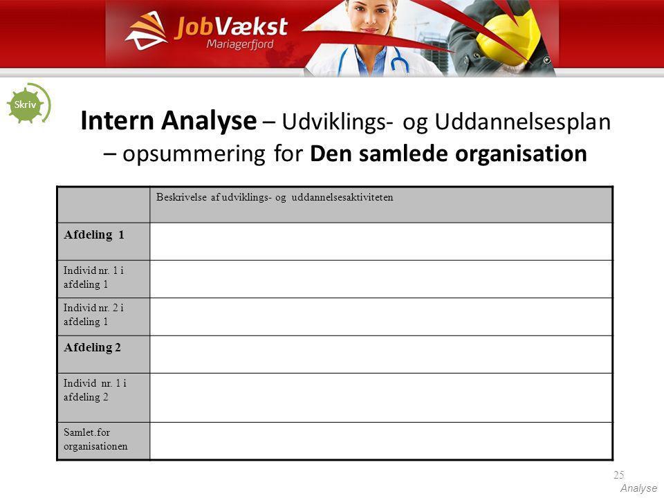 Skriv Intern Analyse – Udviklings- og Uddannelsesplan – opsummering for Den samlede organisation.