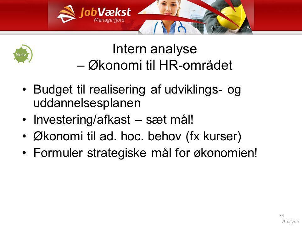 Intern analyse – Økonomi til HR-området