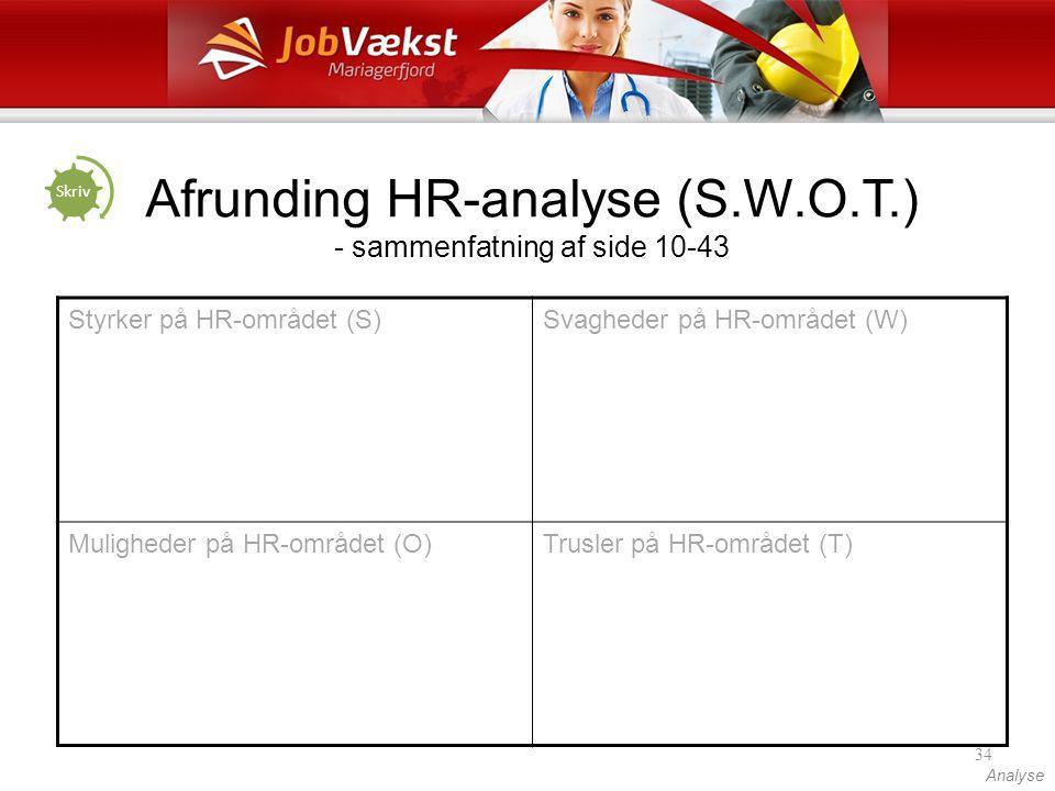 Afrunding HR-analyse (S.W.O.T.) - sammenfatning af side 10-43