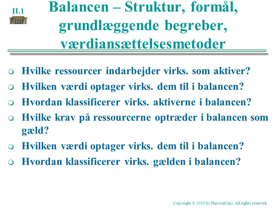Balancen – Struktur, formål, grundlæggende begreber, værdiansættelsesmetoder