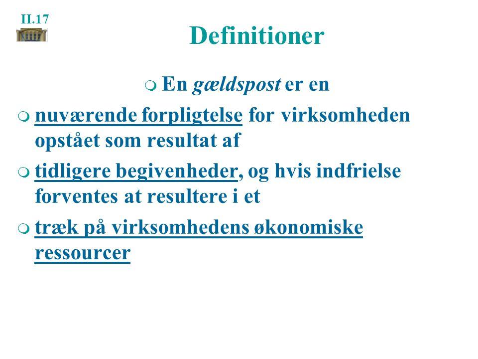 Definitioner En gældspost er en