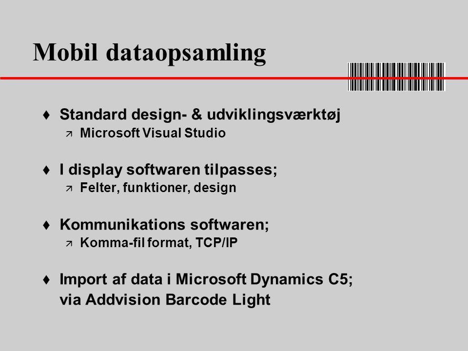 Mobil dataopsamling Standard design- & udviklingsværktøj