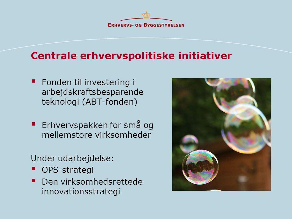 Centrale erhvervspolitiske initiativer