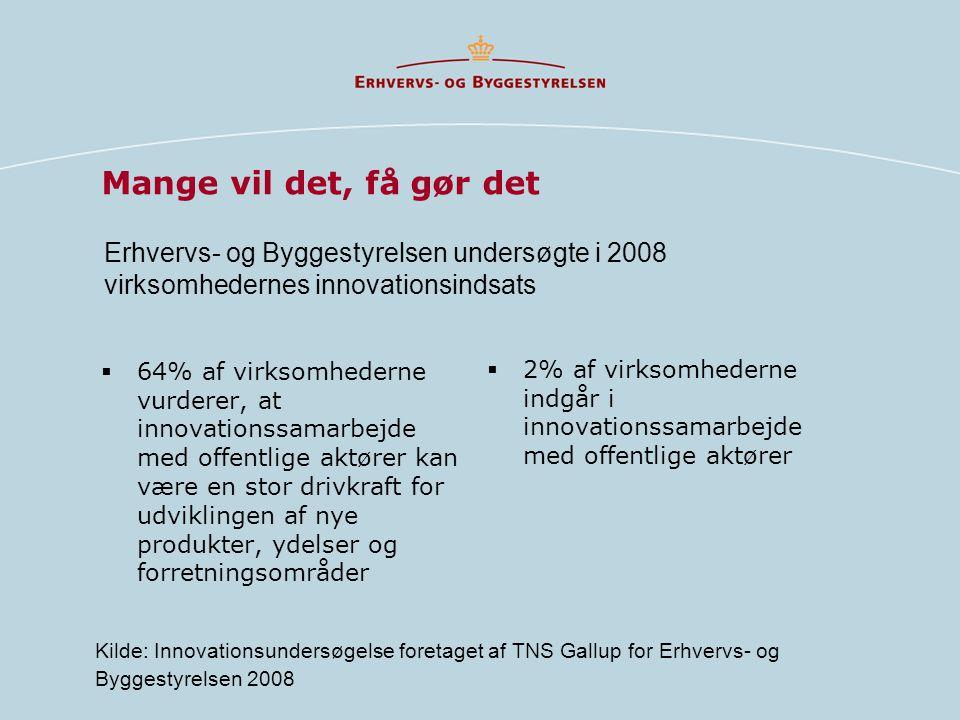 Mange vil det, få gør det Erhvervs- og Byggestyrelsen undersøgte i 2008 virksomhedernes innovationsindsats.