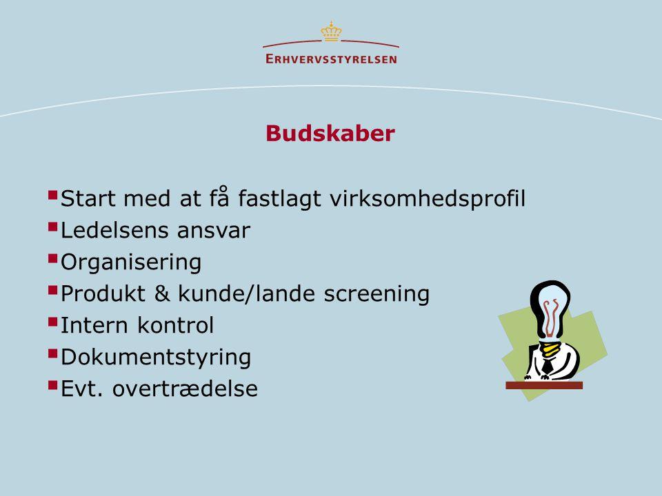 Budskaber Start med at få fastlagt virksomhedsprofil. Ledelsens ansvar. Organisering. Produkt & kunde/lande screening.