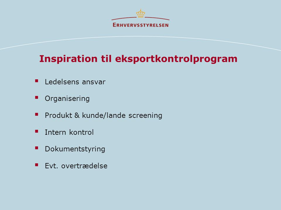 Inspiration til eksportkontrolprogram
