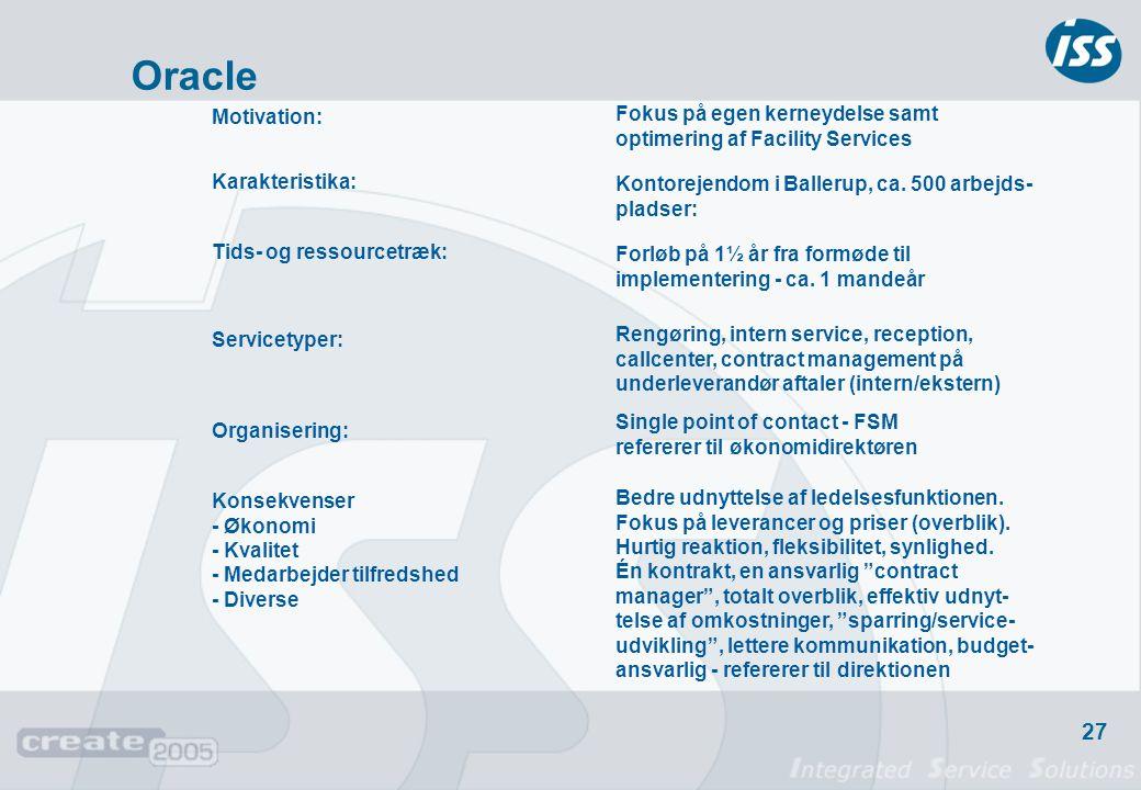 Oracle Fokus på egen kerneydelse samt optimering af Facility Services