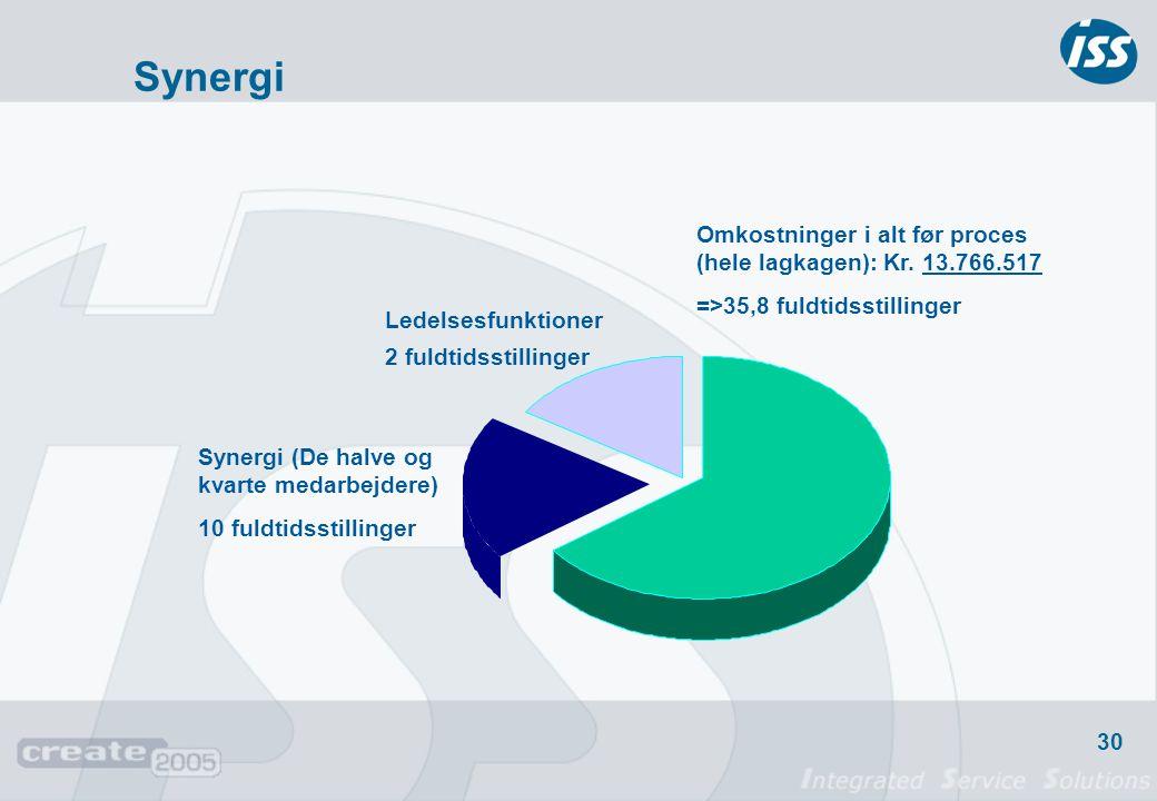Synergi Omkostninger i alt før proces (hele lagkagen): Kr. 13.766.517