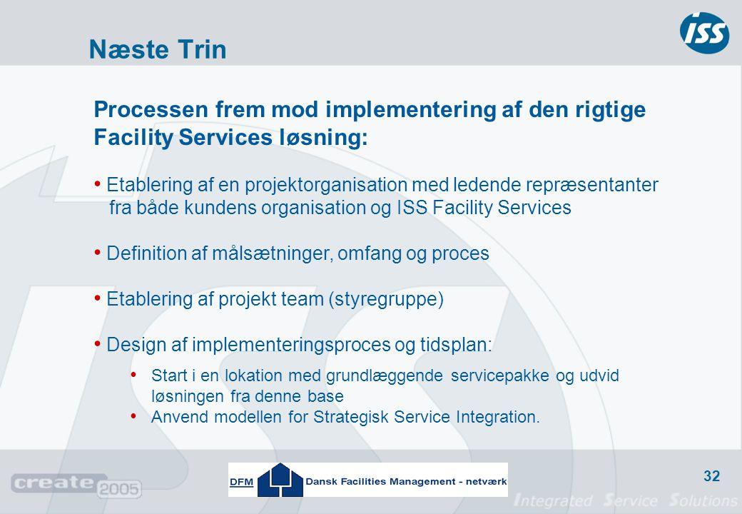 Næste Trin Processen frem mod implementering af den rigtige Facility Services løsning: