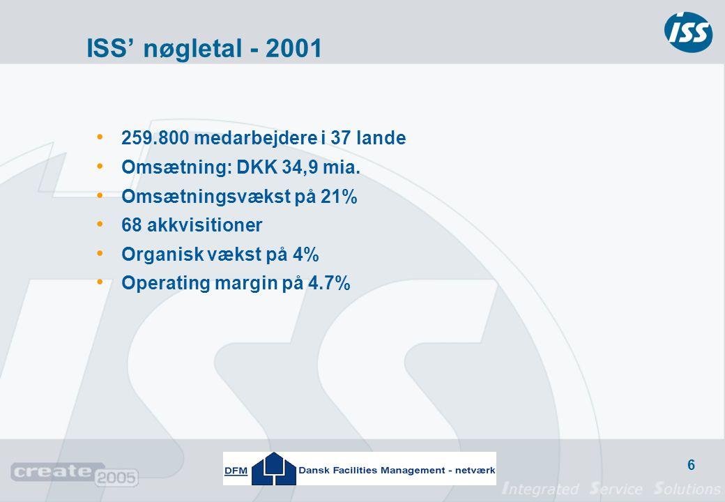 ISS' nøgletal - 2001 259.800 medarbejdere i 37 lande