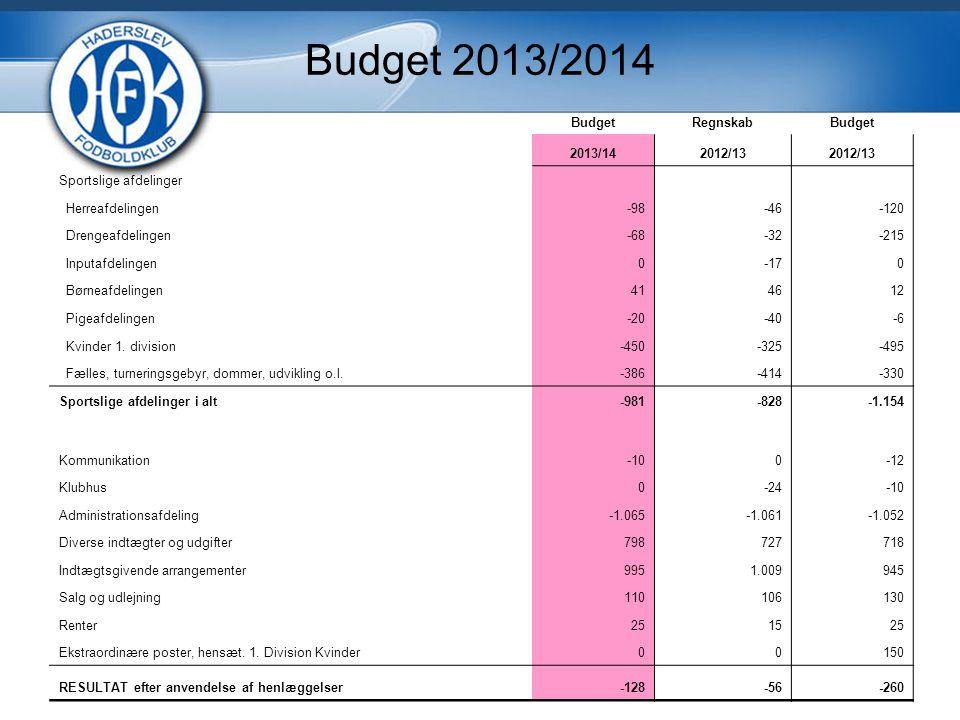 Budget 2013/2014 Budget Regnskab 2013/14 2012/13 Sportslige afdelinger