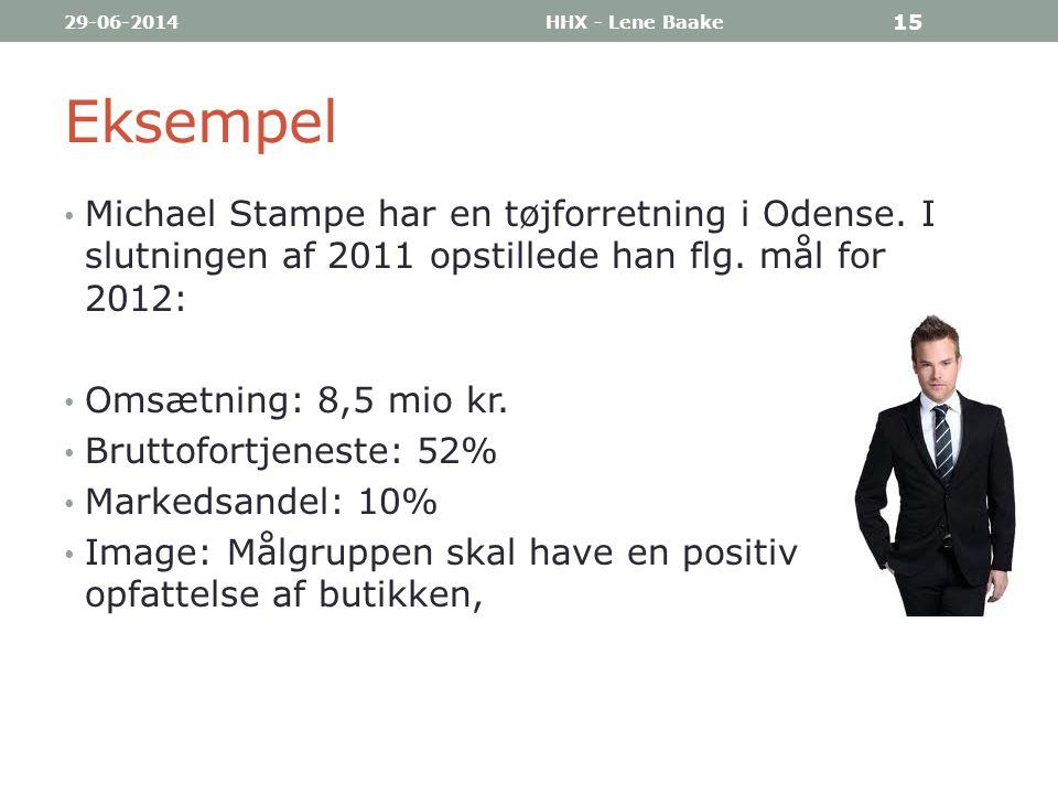 03-04-2017 HHX - Lene Baake. Eksempel. Michael Stampe har en tøjforretning i Odense. I slutningen af 2011 opstillede han flg. mål for 2012: