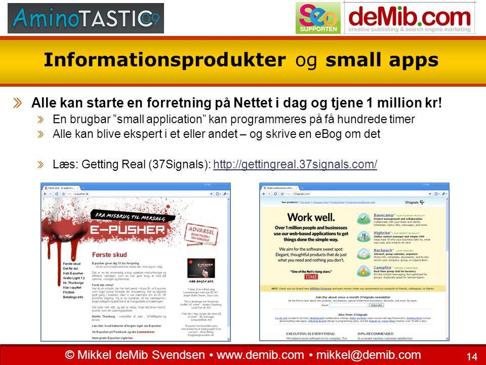 Informationsprodukter og small apps