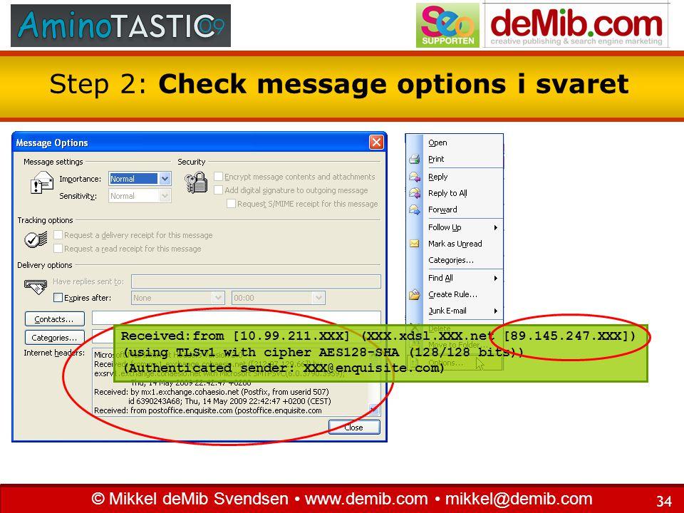 Step 2: Check message options i svaret