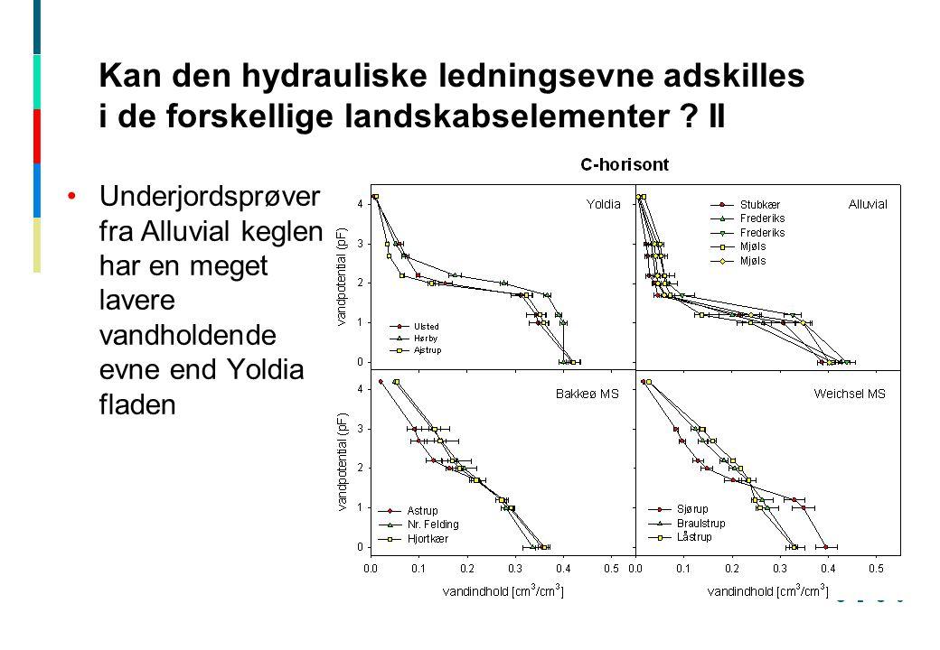 Kan den hydrauliske ledningsevne adskilles i de forskellige landskabselementer II