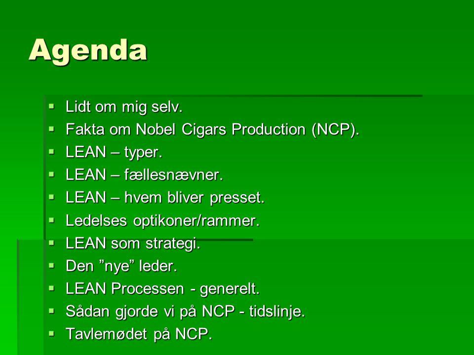 Agenda Lidt om mig selv. Fakta om Nobel Cigars Production (NCP).
