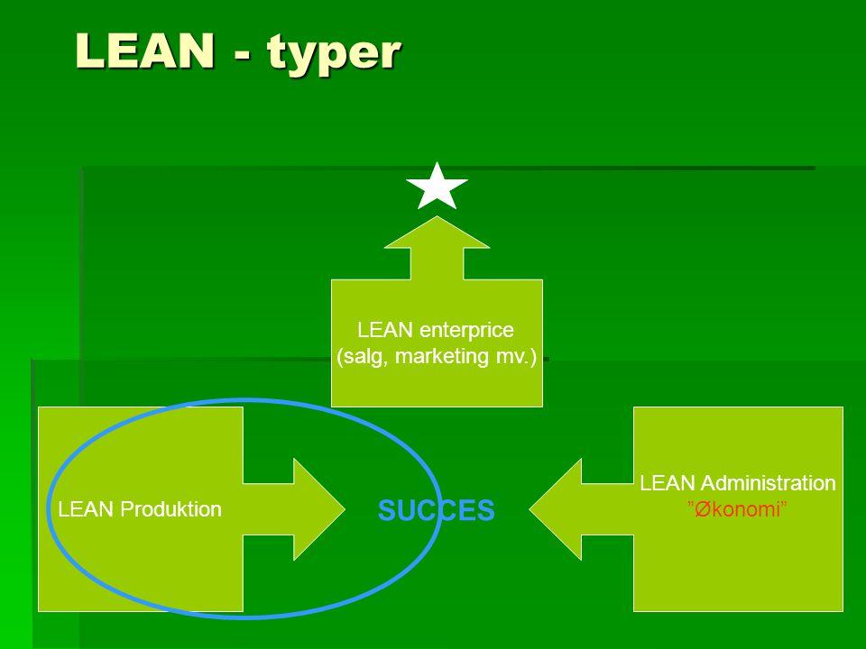 LEAN - typer SUCCES LEAN enterprice (salg, marketing mv.)