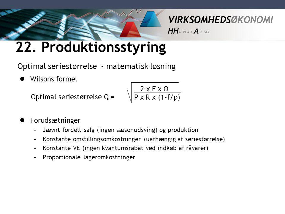 22. Produktionsstyring Optimal seriestørrelse - matematisk løsning