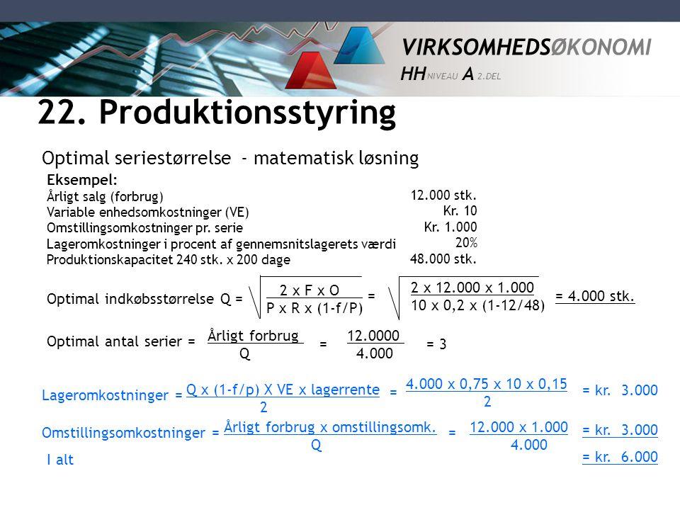 22. Produktionsstyring Optimal seriestørrelse - matematisk løsning =