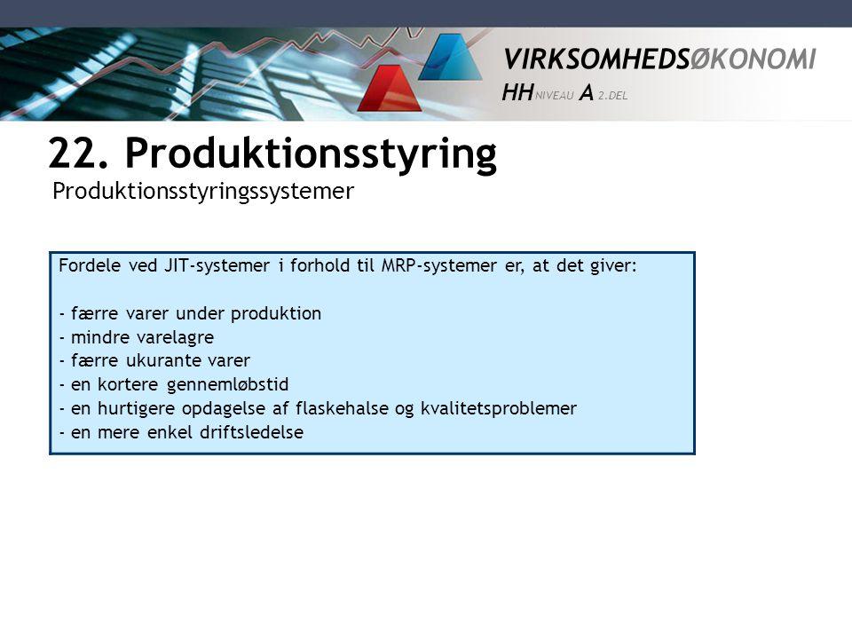 22. Produktionsstyring Produktionsstyringssystemer