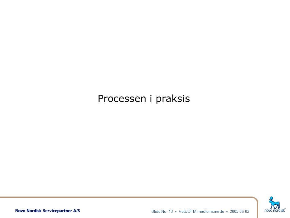 Processen i praksis Slide No. 13 • VeB/DFM medlemsmøde • 2005-06-03