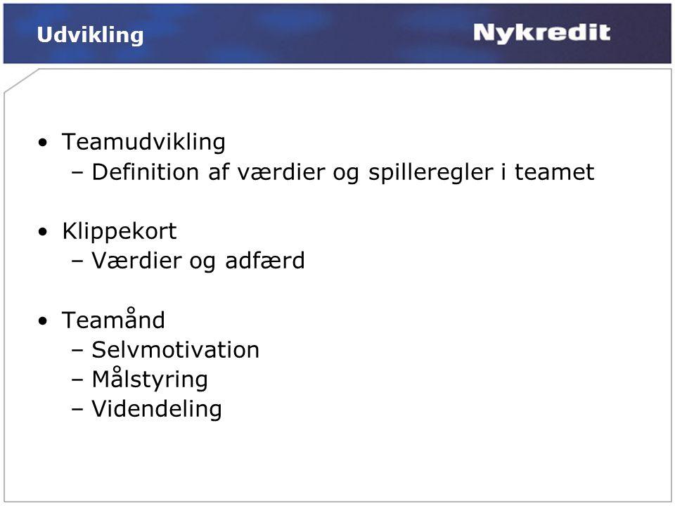 Definition af værdier og spilleregler i teamet Klippekort