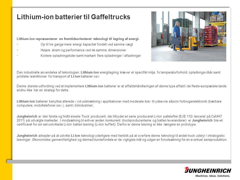 Lithium-ion batterier til Gaffeltrucks