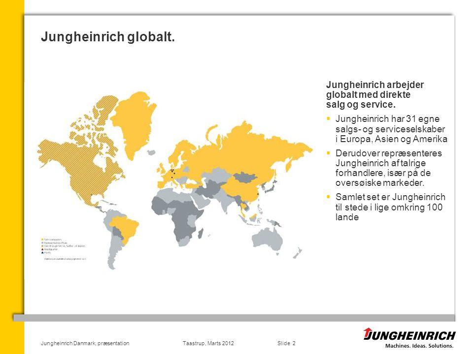 Jungheinrich globalt. Jungheinrich arbejder globalt med direkte salg og service.