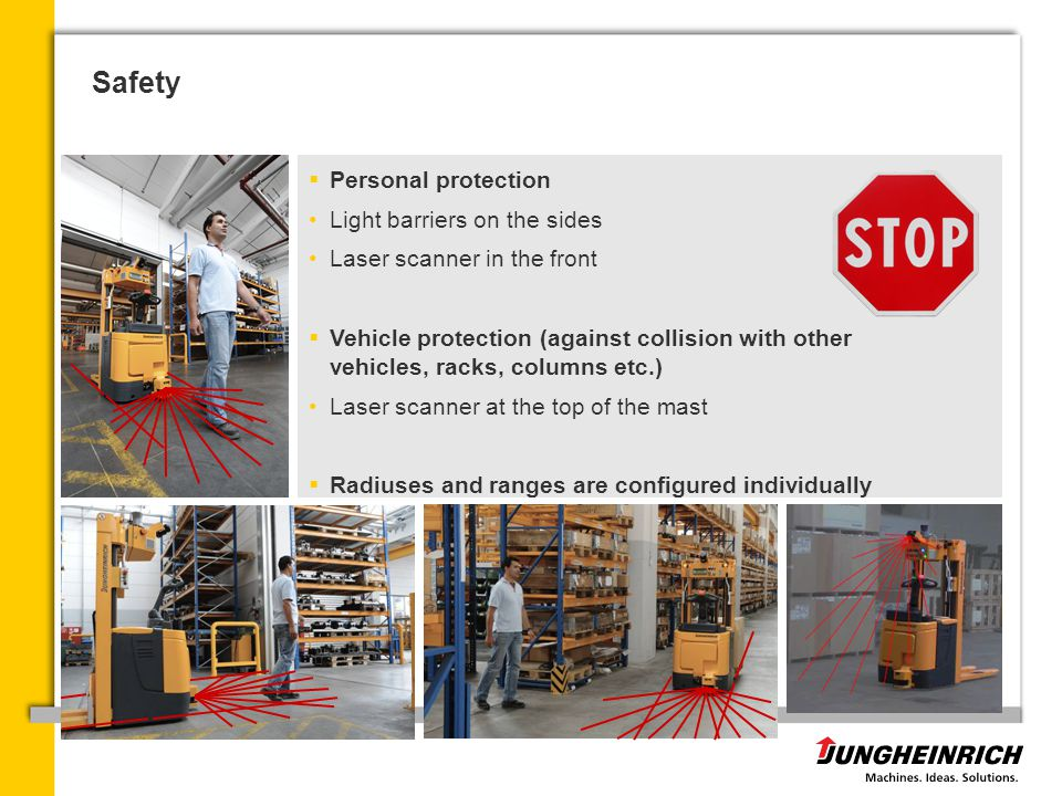 Safety Personal protection Light barriers on the sides