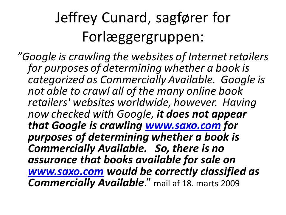 Jeffrey Cunard, sagfører for Forlæggergruppen: