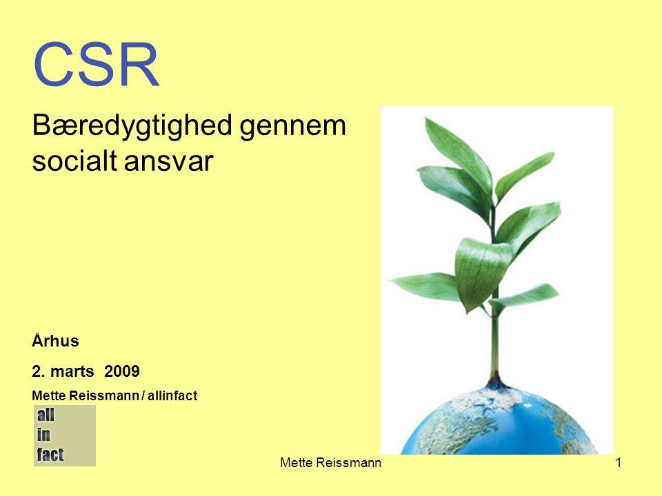 CSR Bæredygtighed gennem socialt ansvar Århus 2. marts 2009