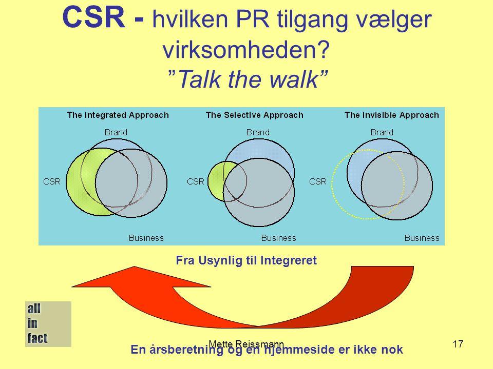 CSR - hvilken PR tilgang vælger virksomheden Talk the walk