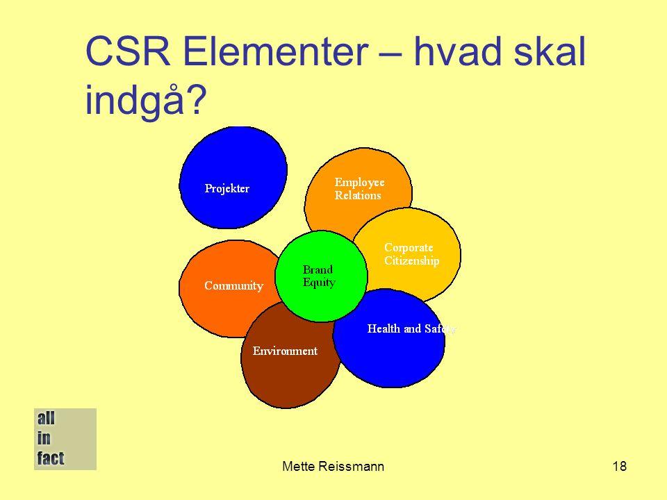 CSR Elementer – hvad skal indgå