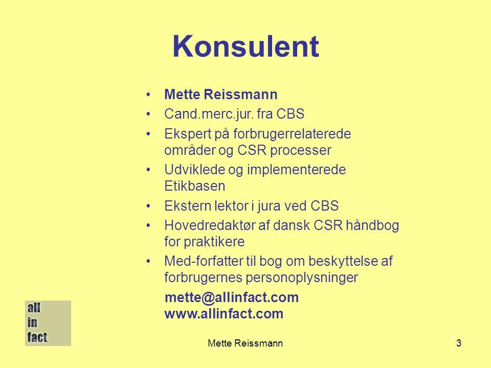 Konsulent Mette Reissmann Cand.merc.jur. fra CBS