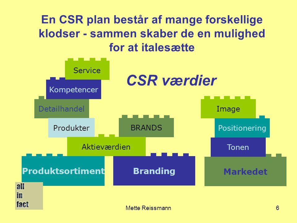 En CSR plan består af mange forskellige klodser - sammen skaber de en mulighed for at italesætte