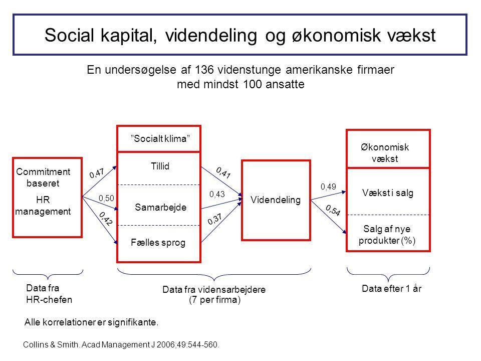 Social kapital, videndeling og økonomisk vækst