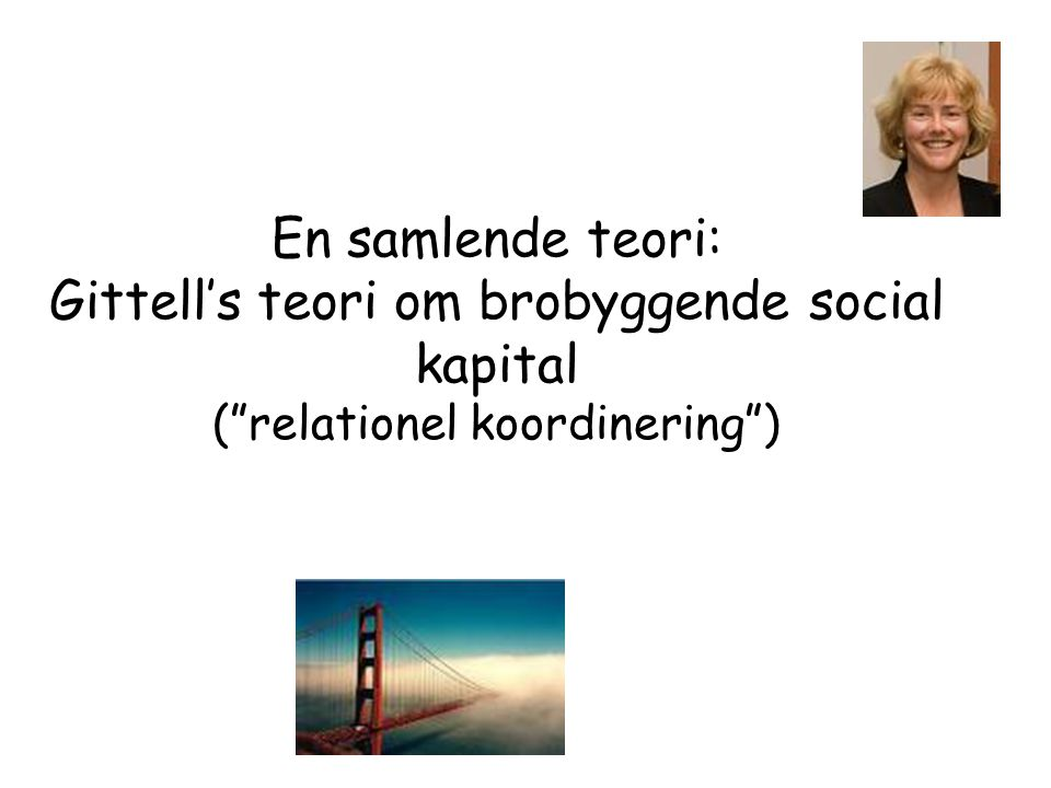 En samlende teori: Gittell's teori om brobyggende social kapital ( relationel koordinering )
