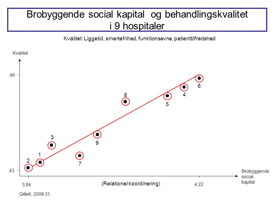 Brobyggende social kapital og behandlingskvalitet i 9 hospitaler
