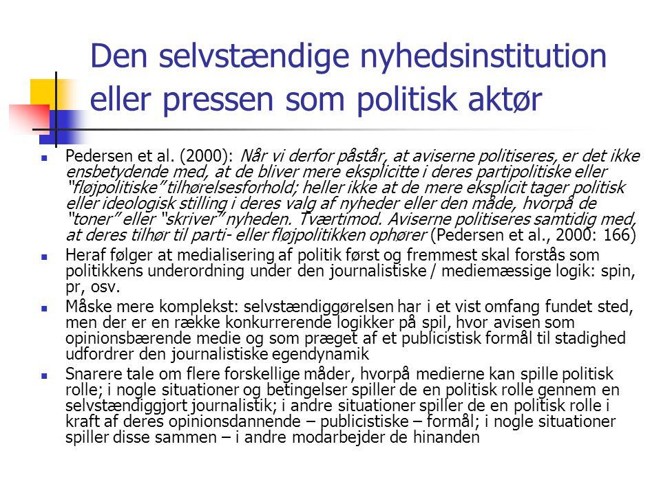 Den selvstændige nyhedsinstitution eller pressen som politisk aktør