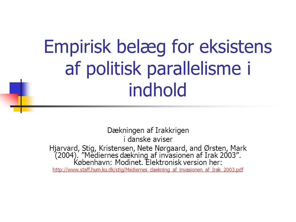 Empirisk belæg for eksistens af politisk parallelisme i indhold