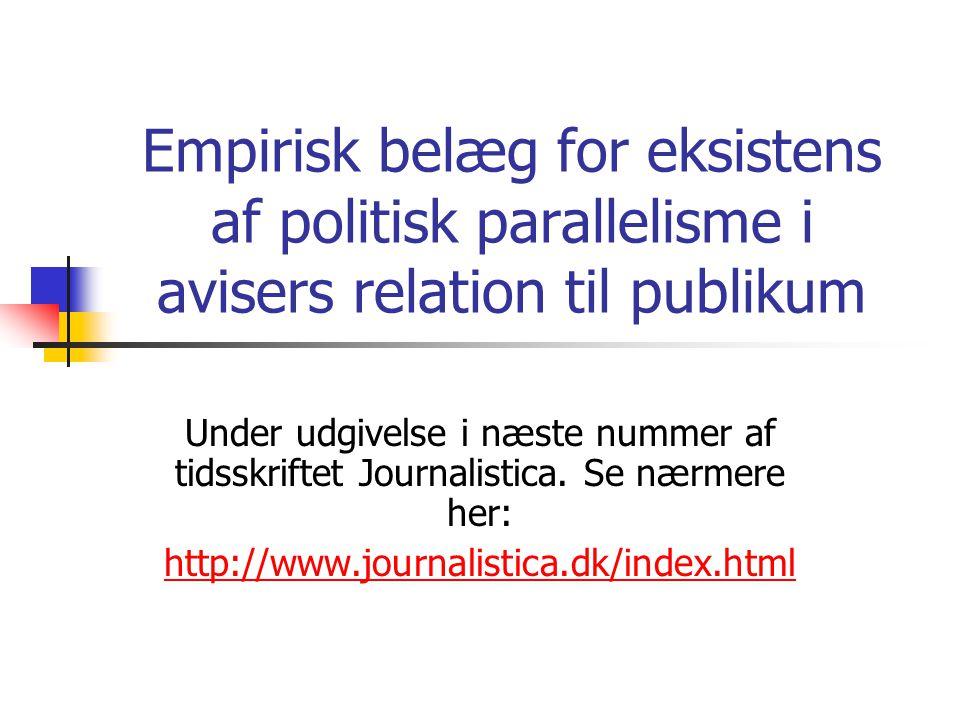 Empirisk belæg for eksistens af politisk parallelisme i avisers relation til publikum