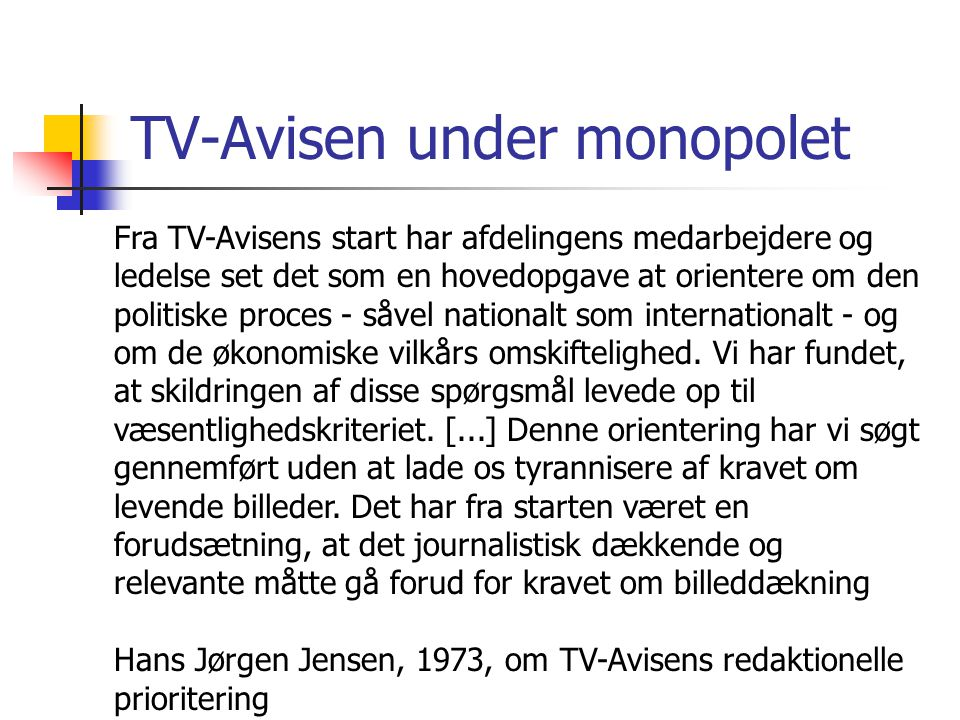 TV-Avisen under monopolet
